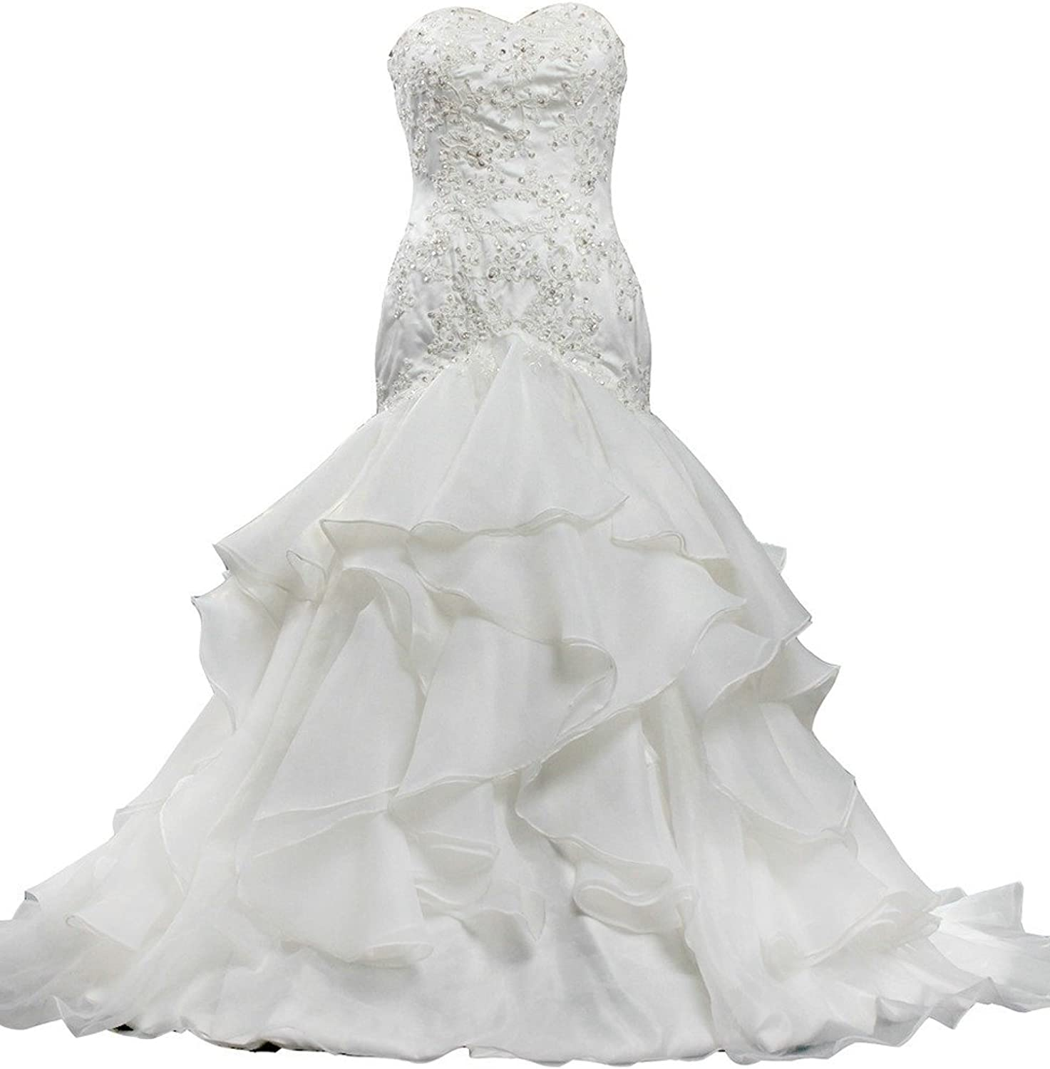 ANTS Sweetheart Mermaid Organza Lace Wedding Dresses Sequined
