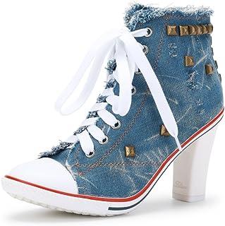 ac858e34ccb2e OCHENTA Femme Bottine Basket Talon Bloc Hauteur 8cm Lacets en Toile  Sneakers Cheville