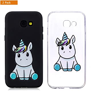 E-Flamingo [2 Pack] Funda Compatible con Samsung Galaxy A3 2016 Unicornio Negro Suave Flexible Silicona Gel Bumper Cover Carcasa