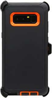 WallSkiN Turtle Series Cases for Samsung Galaxy Note 8 (Only) Tough Protection with Kickstand & Holster - Sensation (Black/Orange)