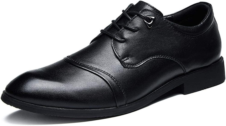 RONGLINGXING RONGLINGXING Mode Herren Business Oxfords Classic Dress Schuhe Casual Loafers Schnürschuhe Spitzschuh Echtes Leder Anti-Rutsch-Abriebfest Brogues (Farbe   Schwarz, Größe   44 EU)  Professionelles integriertes Online-Einkaufszentrum