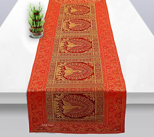 Osian Krafts Year Christmas Gift Red Gold Banarsi Brocade Silk Table Runner for Dining Table 6 & 4 Seater Peacock Centre Table Top Decor Rectangle | 60x16 Inches (152x40 cm)