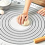 Pastry Mat for Rolling Dough, WeGuard 20x16' Large Silicone Pastry Kneading Mat Board with Measurements Marking BPA Free Food Grade Non-stick Non-slip Rolling Dough Baking Mat