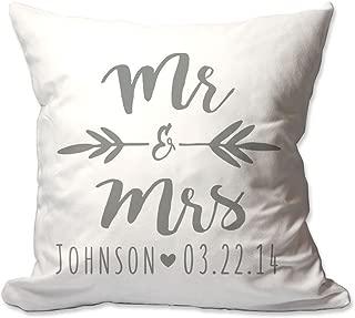 Pattern Pop Personalized Brush Script Mr. & Mrs. Throw Pillow