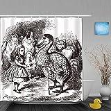Cortina de baño Repelente al Agua,Alicia en el país de Las Maravillas con Dodo Animal Adventures Big Bird Sketch Children Theme,Cortinas de baño de poliéster de diseño 3D con 12 Ganchos