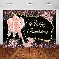 女の子の女性のための新しいローズゴールドの誕生日パーティーの背景Bdayパーティーの写真撮影の背景7x5ftグリッタードットハイヒールシャンパンバルーン花の誕生日の装飾写真の背景