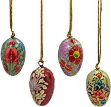 BestPysanky Set of 4 Floral Eggs Wooden Ornaments 1.75 Inches