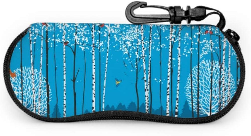 Birches In The Winter Forest Child Sunglass Case Case Eyeglasses Light Portable Neoprene Zipper Soft Case Travel Case Glasses