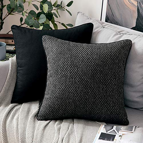MIULEE Pack of Two Cushion Cover Throw Pillow Case Decorative Super Soft Piping Yarn-dyed Fabric Home for Living Room Bedroom Sofa 45 x 45 cm 18 Inch Black