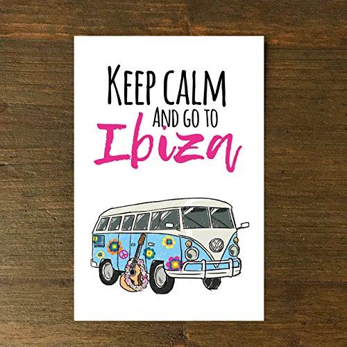Karte, Grußkarte, Geburtstag Keep calm and go to Ibiza., Grußkarte, handgezeichnet