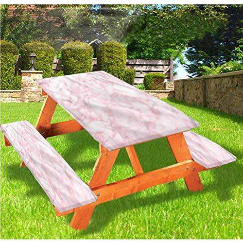 LEWIS FRANKLIN cortina de ducha de mármol, mesa de picnic y banco, mantel ajustable, suave textura de granito elástico de borde ajustable, 28 x 72 pulgadas, juego de 3 piezas para mesa plegable