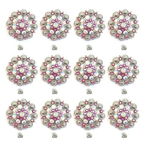 MarryAcc Berry Conchos with Screws Metal Flower Rhinestone Conchos 12 Pieces (Color 6)