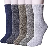 Pack of 5 Womens Winter Socks Warm Thick Knit Wool Soft Vintage Casual Crew Socks Gifts,Multicolor 021a