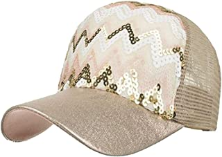 CHENDX Caps, Men's and Women's Spring and Summer New Style Shade Outdoor Baseball Cap Models 6 Color Sequins Wave Net Hat (Color : Silver, Size : 54-62cm)
