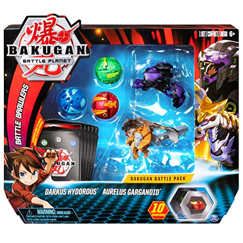 Bakugan 6054981 Battle 5-Pack, Darkus Hydorous and Aurelus Gargarnoid, Collectible Cards and Figures, for Ages 6 and Up, Multicolour