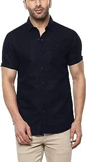 ELEPANTS Mens Cotton Lenin Half Solid Casual Summer Shirt