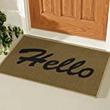 "Ottomanson Doormat Collection Rectangular Hello Doormat, 20"" X 30"", Beige"