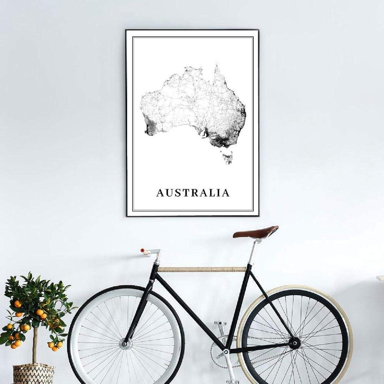 決定化学薬品古いオーストラリアシティロードマップアートポスタープリントシドニーメルボルンブリスベンオセアニアマップアート絵画絵オフィスウォール(50x70cmx1フレームなし)