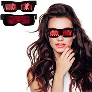 LED Glasses with Bluetooth APP Control, Rechargeable Magic Glasses, Customize Message Light-up Glasses for Masquerade Red