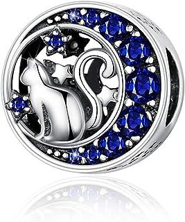Mefusha Cat Charms 925 Sterling Silver Pet Animal Star Moon Blue Cubic Zirconia Charm Bead Compatible with Pandora Bracele...