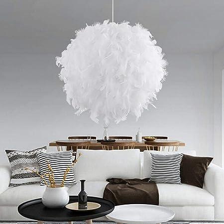 AUA Lampe suspendues en plumes, Lustre diamètre 30 cm blanc
