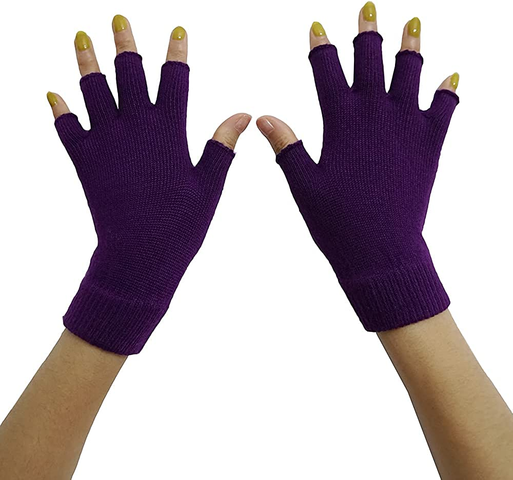 Lemoyoung Women's Mid-Weigh Cashmere Fingerless Gloves Soft Warm Gloves