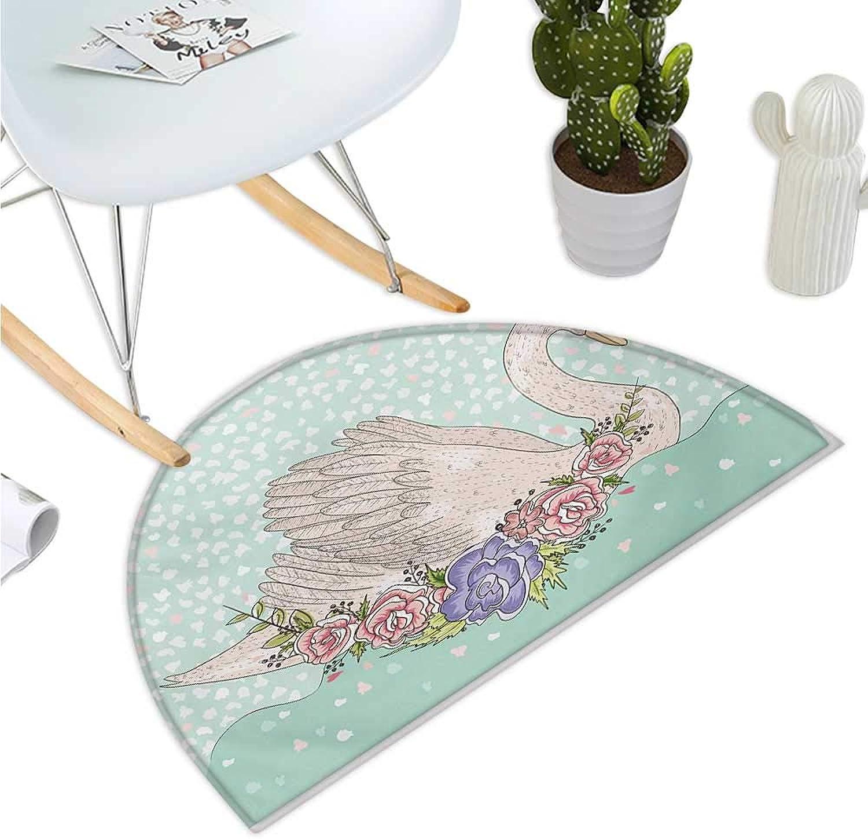 Queen Semicircle Doormat Cute Cartoon Swan on Water Crown Flowers Dreamy Fairytale Kids Playroom Halfmoon doormats H 35.4  xD 53.1  Mint Green Beige Coral
