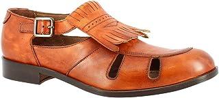 Leonardo Shoes Zapatos Abiertos para Hombre Hechos a Mano con Flecos en Piel de Becerro Color Canela con Cierre de Hebilla...