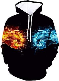 Men's Sweatshirts Drawstring Pockets Hooded Pullover Top Blouse 3D Printed Streetwear Outwear