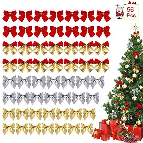 Xiangmall 56 Piezas Lazo Navidad Mini Cinta Adornos para Árbol de Navidad Corona Decoracion Envolver Regalo