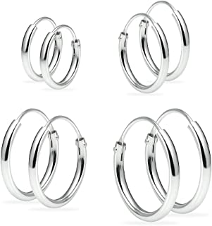 dd4373d4e Set of Four Sterling Silver Small Endless 1.2mm x 10mm, 12mm, 14mm &16mm