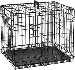 PSK PET MART 30 Inch Double Door Folding Black Metal cage with Removable Tray and paw Protector for Dogs,Cats and Rabbits