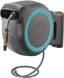 Gardena Wall Mounted Retractable Hose Reel, 115 feet, Black and Turquoise