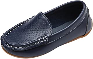Voberry@ Toddler Kids Boys Girls Soft Leather Loafers Slip On Boat Dress Shoes/Sneakers/Flats