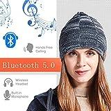Lily Bonnet Musical en Tricot Bluetooth 5.0, Bluetooth stéréo sans Fil Intelligent et Transmission de 15 mètres de Long au...