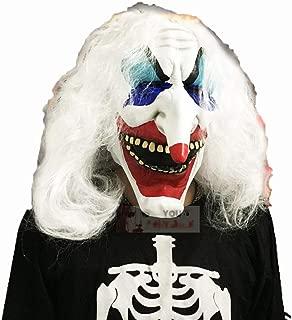 WANJU AU Halloween White Hair Color Clown Mask Set Head Long Nose Latex Mask Ball Dress Up Scary Props