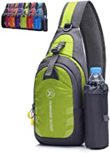 green sling backpack