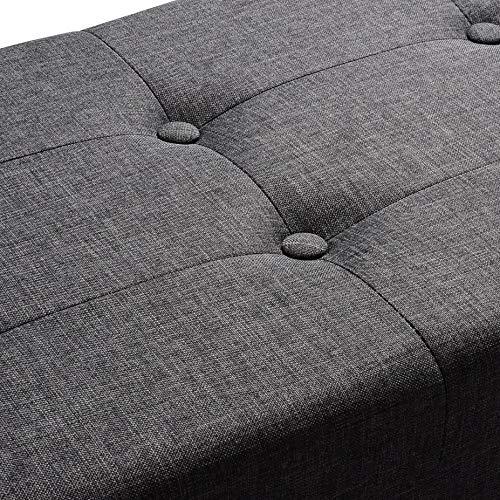 WOLTU Sitzhocker mit Stauraum Sitzbank Faltbar Truhen Aufbewahrungsbox, Deckel Abnehmbar, Gepolsterte Sitzfläche aus Leinen, 110×37,5×38 cm, Dunkelgrau, SH11dgr-1 - 4
