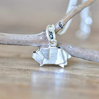 Origami Pig Necklace in Sterling Silver with 16 Inch Chain