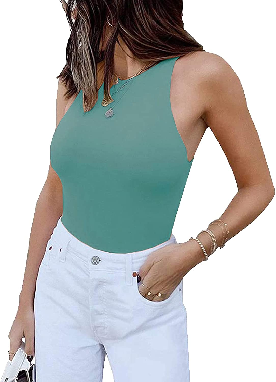 jonivey Women's Sleeveless Halter Racerback Fitted Tank Clubwear One Piece Bodysuit