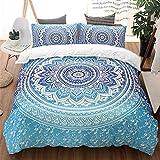 "Bohemian Bedding Set Twin Blue Mandala Duvet Cover with Zipper Closure Soft Mircrofiber Boho Chic Bedding Quilt Duvet Cover for Home Decro 68"" x 90"""