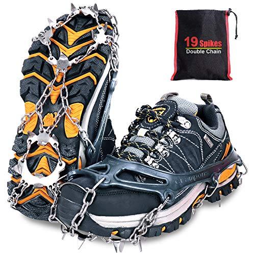 Tevlaphee Crampones, 19 Dientes Tacos de tracción Nieve y Hielo Tracción para Invierno Deportes Montañismo Escalada Caminar Alpinismo Cámping Acampada Senderismo (Schwarz, M)