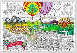 "Balloon Festival- Giant Wall Size Coloring Poster - 32.5"" X 22"" (Great for Family Time, Adults, Kids, Classrooms, Care Facilities and Group Activities - Includes Reusable Rigid Storage Tube)"