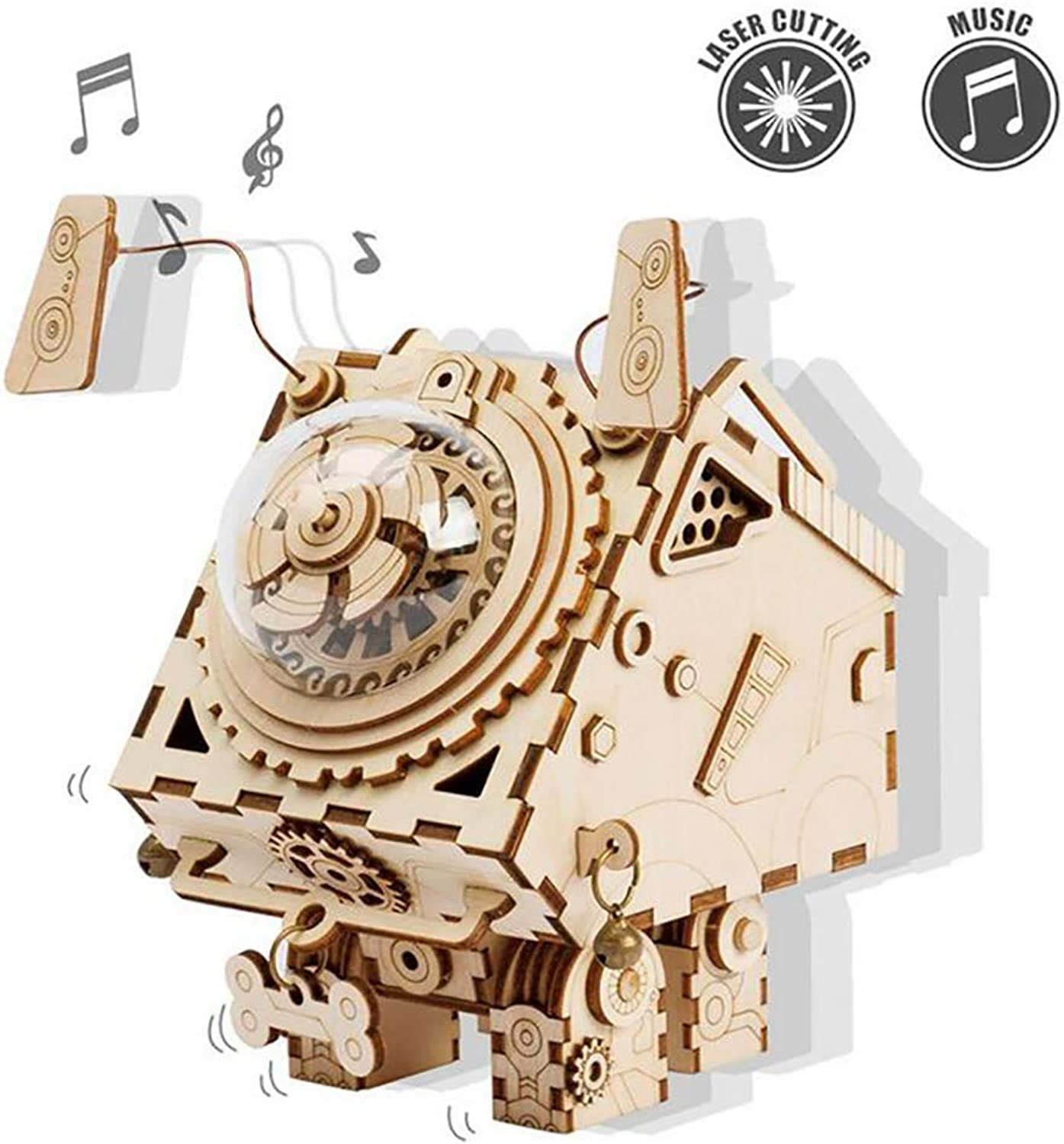 Laser Cut Wooden 3D Robot dog Puzzles, Build Your Own Wooden Music Box Craft Kits, Steampunk Christmas Birthday Valentine's Day