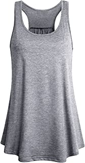 Pervobs Tank Tops Big Women Sleeveless Sport Yoga Solid Flowy Cotton Racerback Tank Blouse Top Vest