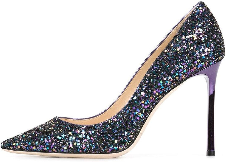 Eldof Womens High Heel Pumps   10cm Pointed Toe Glitter Heels   Slip On Classic Wedding Pumps