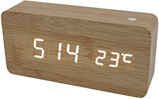 TODO White Led Wooden 3 Alarm Clock + Temperature Display USB/Battery Wood Beige 6035