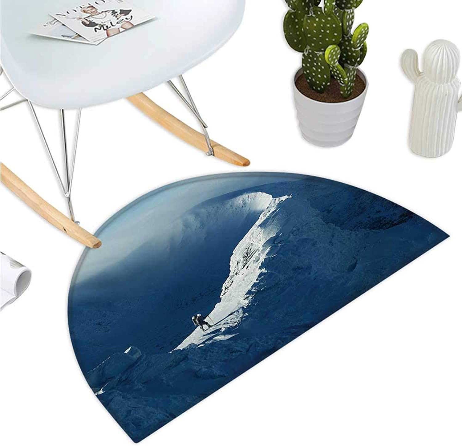 Nature Semicircle Doormat Sunny Day in The Mountains Tourist Standing on a Rock Adventurous Lifestyle Entry Door Mat H 43.3  xD 64.9  Slate bluee White