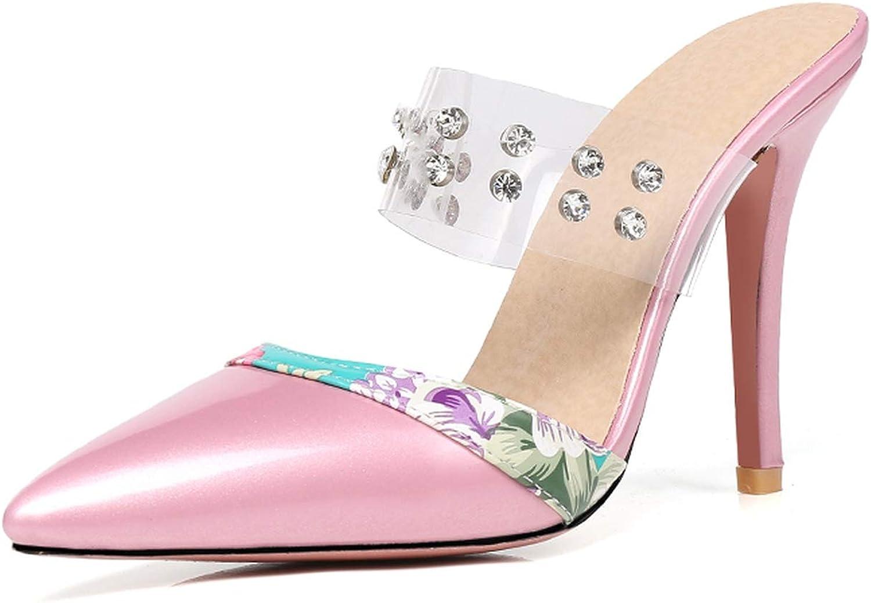 GEKX Women High Heel Mules Female shoes Crystal Strap Pointy Toe Slipper Dress shoes Woman