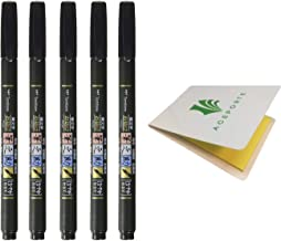 Tombow Fudenosuke Fude Brush Pen Soft (GCD-112) x5 Set, with Original Sticky Notes - Great for Calligraphy, Art Drawings, ...
